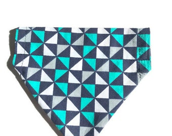 Navy, Green, White, and Gray over the collar dog bandana, Dog bandana, Over the Collar bandana, Slip over the collar dog bandana
