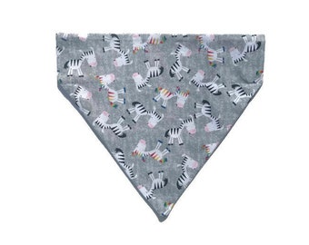 Zebra over the collar dog bandana, Over the Collar bandana, Slip on dog bandana, Rainbow Zebra dog bandana, Gray dog bandana