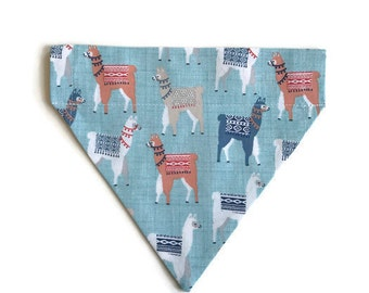 Llamas over the collar dog bandana, Over the Collar bandana, Slip on dog bandana