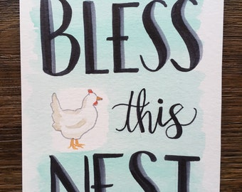 Bless This Nest - original watercolor 5x7