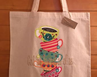 Canvas Tote with Embroidery: God has favored all of us.