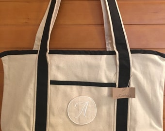 Canvas and Black Tote