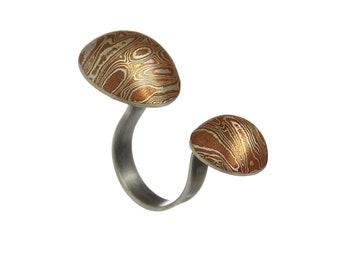 Mokume Zeus ring - Japanese metalworking technique - mokume gane