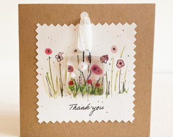 send a note correspondence cards Greetings cards with fused glass flower hanger with love With Love