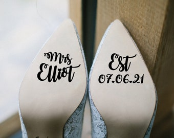 Shoe Decal 'Established' - Personalised Wedding Vinyl Sticker