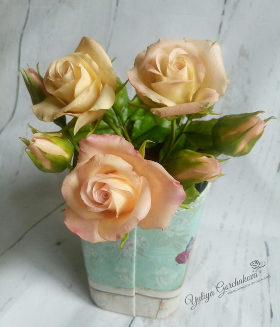 Bush Roses Real Touch Flowers Home Decor Roses Cold Porcelain Etsy
