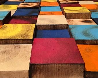 Wood Block Wall Art Etsy