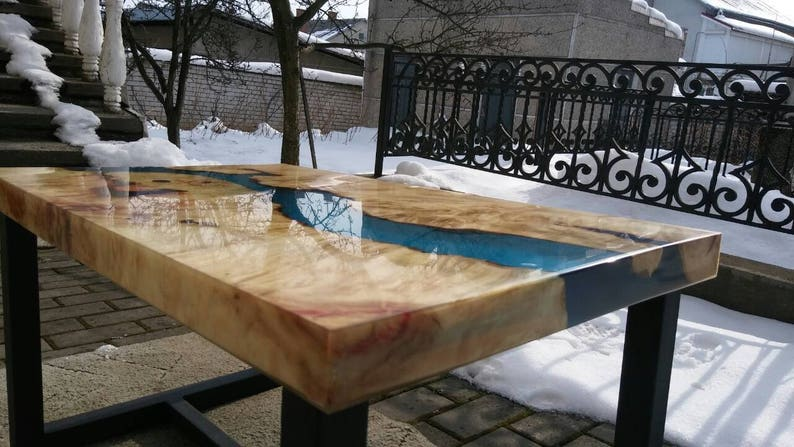River coffee table   Maple table  Ocean epoxy table