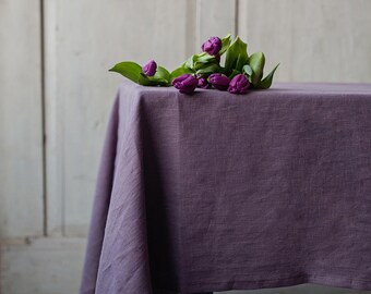 Lavender Linen Tablecloth. Pure And Stonewashed Linen Tablecloth. Handmade  Custom Size Table Covers