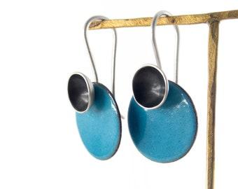 Organic jewelry inspired by ocean mismatched earrings vitreous enamel and silver earrings modern jewels for women contemporary earrings