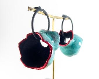 Electroformed earrings. Avant Garde earrings. Sculptural earrings. Teal silver earrings. Contemporary earrings. Modern and unique earrings