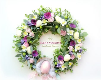 wreath, handmade,  flower arrangement, interior decoration, polymer clay, Easter gift, cold porcelain, easter.