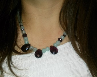 Teardrop crystal beaded necklace, turquoise - purple crystal necklace, beaded necklace