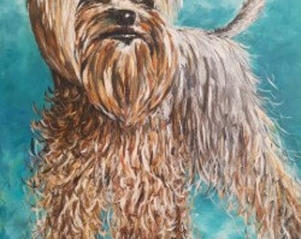 Dog portrait YORKSHIRE TERRIER - oil painting on stretched canvas.