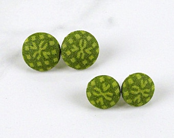 Olive Green Fleur di Lis Covered Button Post Earrings - Small Green Stud Earrings