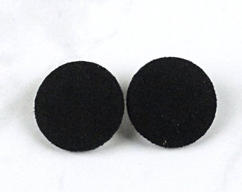 659e21117 Black Faux Suede Earrings - Faux Leather Studs - Covered Button Earrings -  choice of 4 sizes