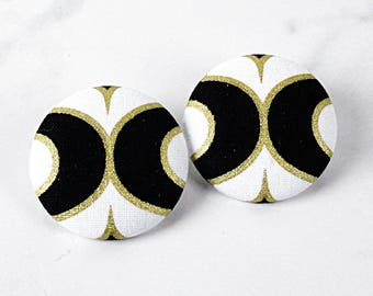 Black White Gold Large Fabric Covered Button Post Earrings - XL Statement Stud Earrings