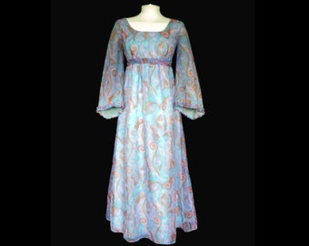 fc1f67387be38 60s 70s blue & pink chiffon MAXI DRESS with flared sleeves, long hippie gown,  uk 10 us 6