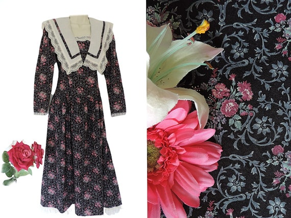 80s GUNNE SAX Prairie Dress with Large Lace Trim C