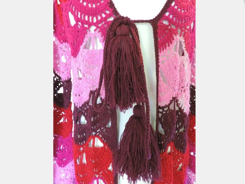 70s purple MAXI cardigan coat CROCHET granny square style vintage long afghan jacket uk 12 us 8 BOHEMIAN hippie festival