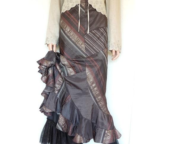 Victorian Steampunk Skirt, Long Ruffle Hem Skirt i