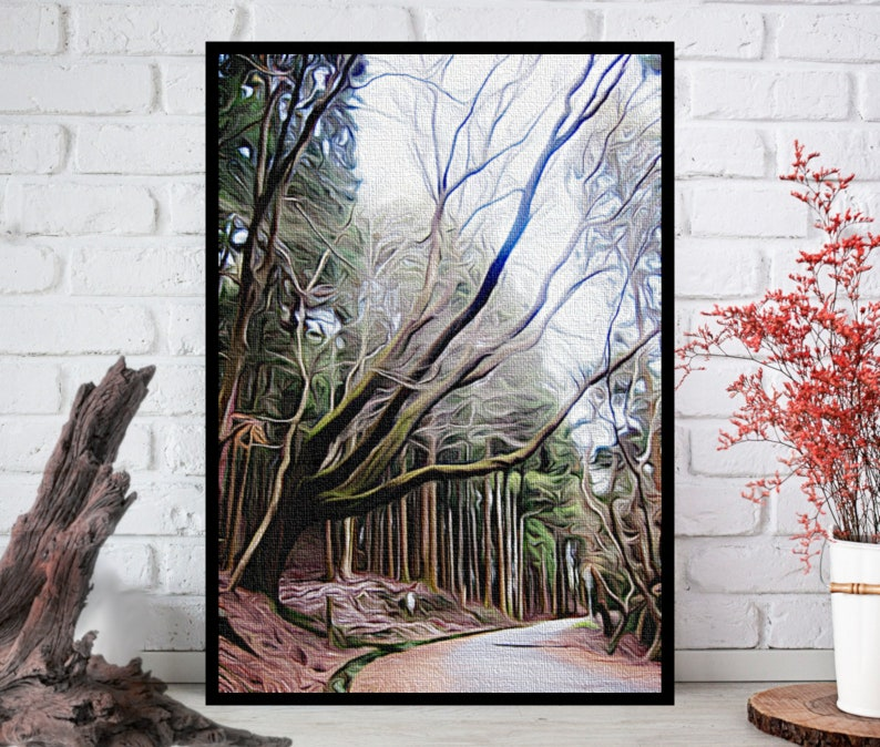 Oil Painting PrintForest Wall ArtForest Wall Decor Forest image 0