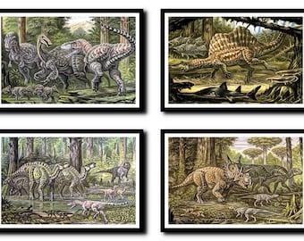 Dinosaurs Print Set of 4,Dinosaurs Wall Art, Dinosaurs Art,Dinosaurs Wall Art,Dinosaurs Wall Decor -Dinosaurs Wall Hanging -Wall Print