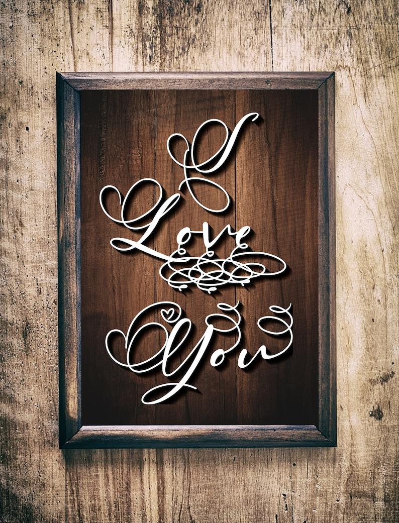I Love You SVGpaper cut templatelaser cut templatesvg image 0