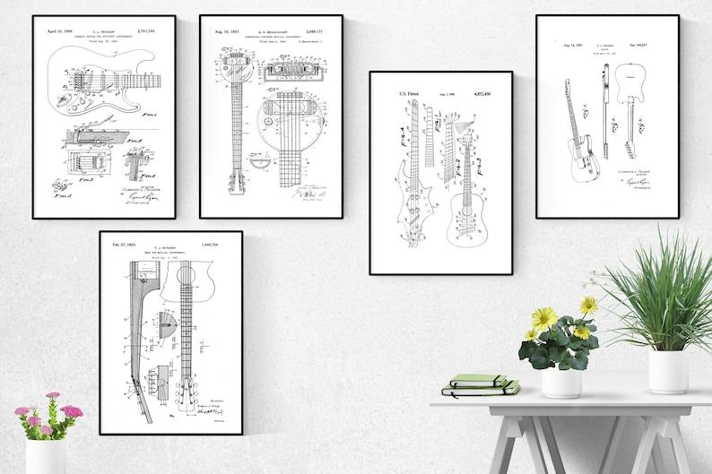 Fender Guitar Old Patent Print Set Of 5Fender Guitar Old image 0