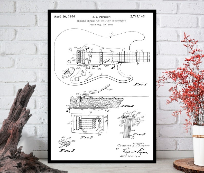 Fender Patent Wall ArtPatent Wall Decor Patent Wall Hanging image 0