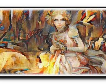 Fairies Oil Painting Print,Fairies Wall Art,Fairies Wall Decor-Fairies Wall Hanging-Fairies Wall Print-Printable Art-Oil Painting Art