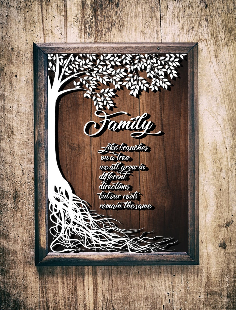 Family Roots Sign SVGpaper cut templatelaser cut image 0