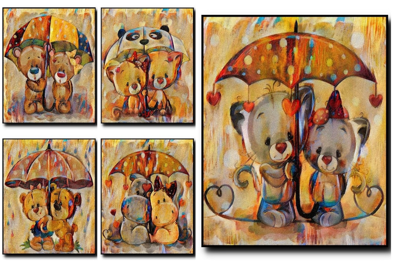 Umbrella Oil Painting Print Set Of 5Umbrella Wall image 0
