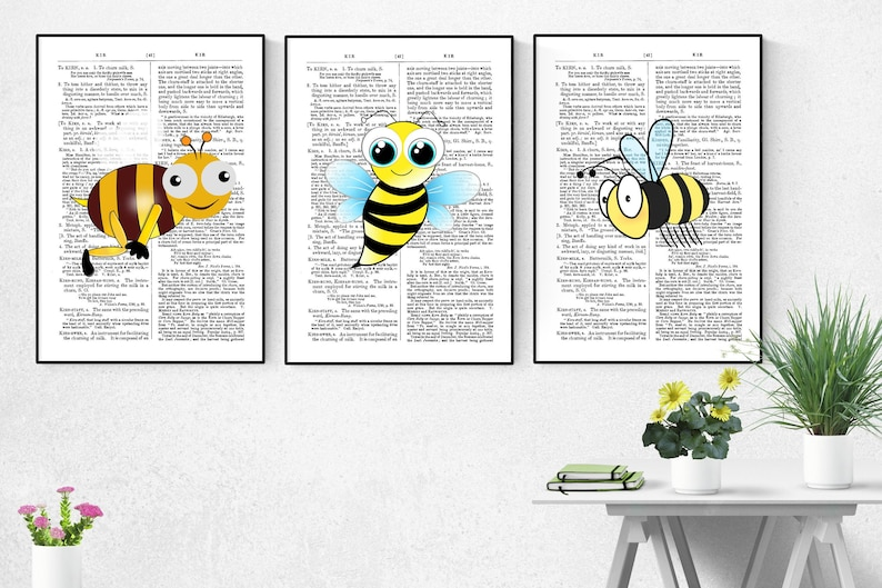 Funny Bee Art Print Wall Decor Set Of 3 Funny Bee Poster image 0