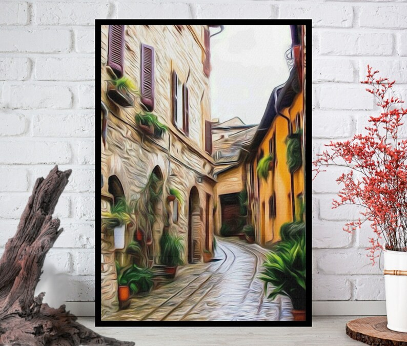 Italy AlleyOil Painting PrintAlley Wall ArtAlley Wall Decor image 0