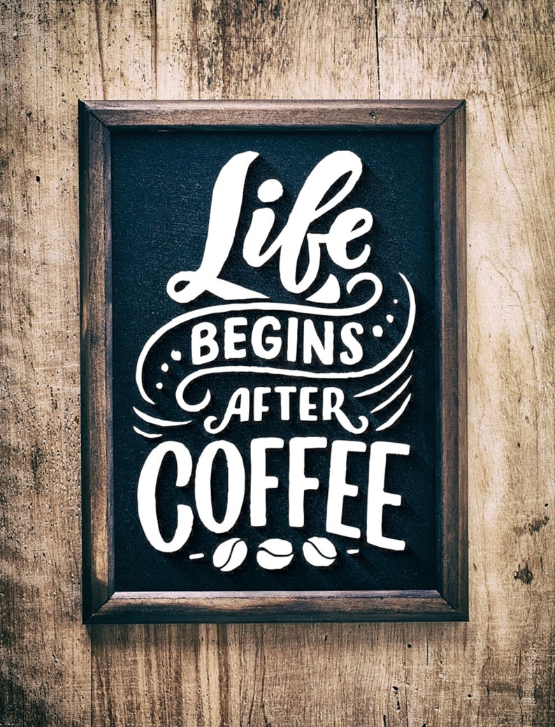 Life begins coffee SVGpaper cut template laser cut template image 0