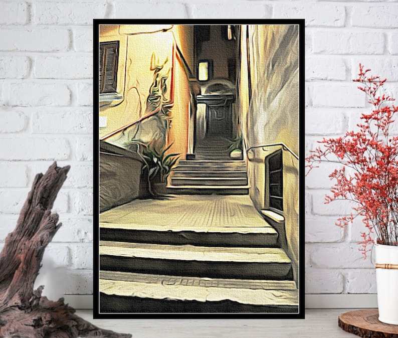 Rome at night Oil Painting PrintRome Wall ArtRome Wall Decor image 0