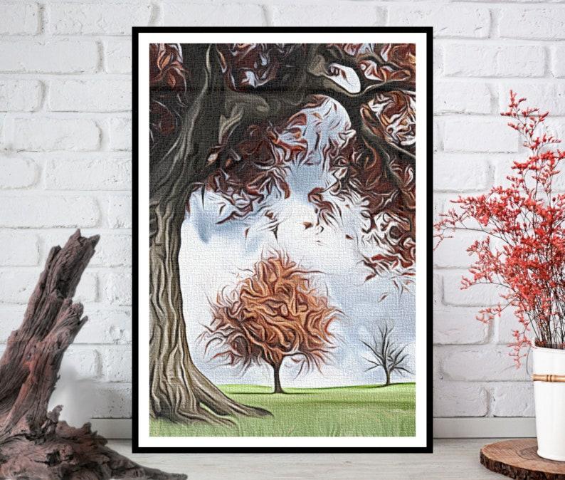 Oil Painting PrintAutumn Wall ArtAutumn Wall Decor Autumn image 0