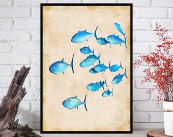 Fish Wall Art, Fish Wall Decor - Fish Wall Hanging - Fish Wall Print - Digital Art - Printable Art - Single Print - INSTANT DOWNLOAD