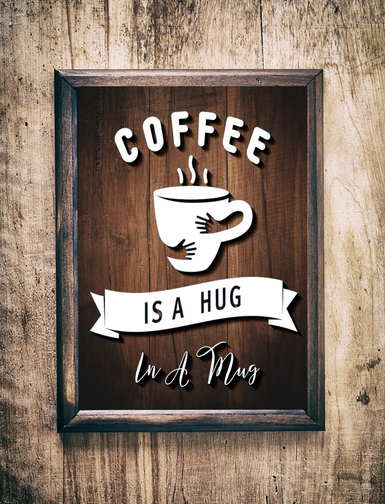 Coffee is a hug in a mug SVGpaper cut templatelaser cut image 0