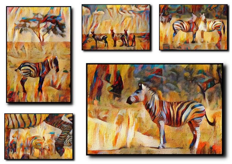 Zebras Oil Painting Print Set Of 5Zebras Wall ArtZebras Wall image 0