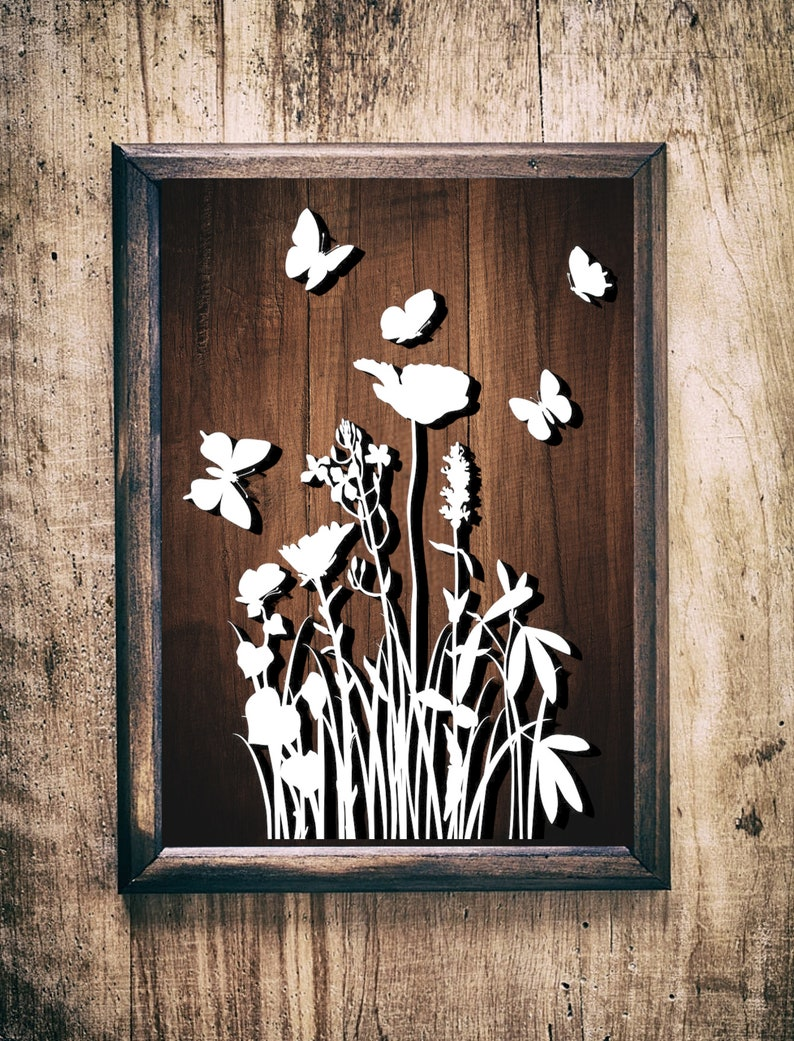 Grass flowers and butterflies SVGpaper cut templatelaser cut image 0