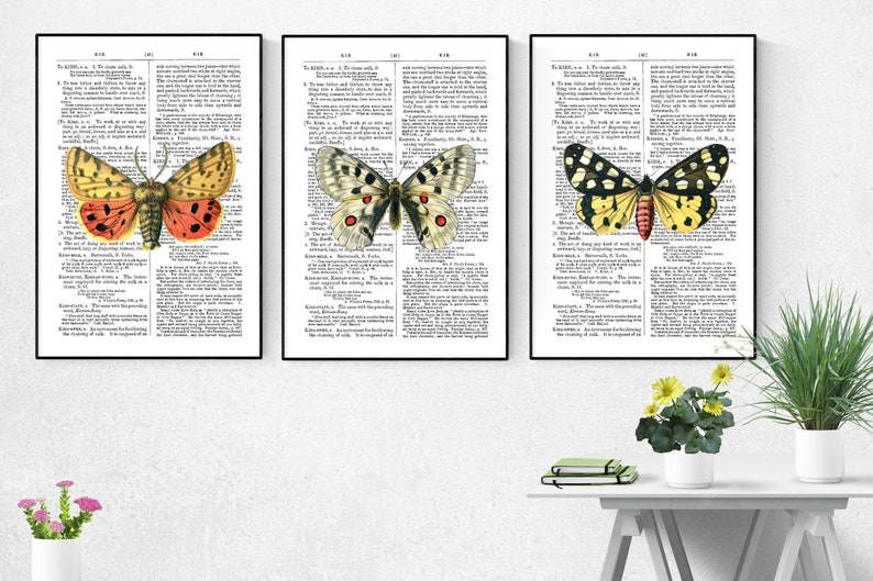 Butterfly Art Print Wall Decor Set Of 3 Butterfly Poster image 0