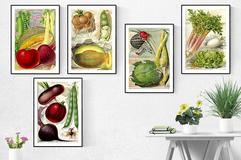 Vegetables Print Set Of 5Vegetables Wall Art Vegetables image 0