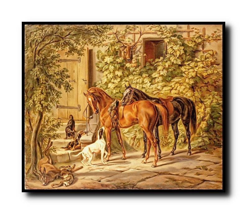 Horses at the Porch Oil Painting PrintHorses at the Porch image 0
