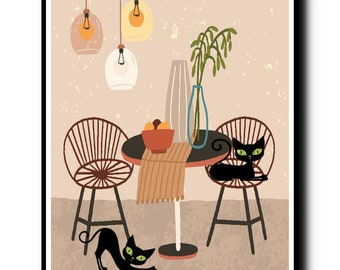 Black Cat Art, Mid Century Modern Art, Black Cat Lover Gift,Cozy Dining Room With Two Black Cats