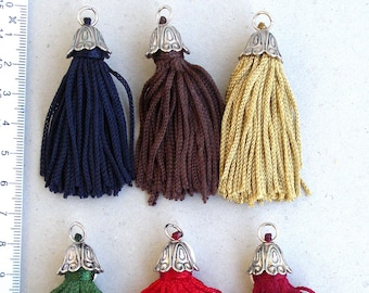 3pcs Rayon tassels 6cm with vintage cone, in various colors