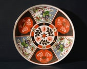 Imari Porcelain Plate, Carriage and Flowers