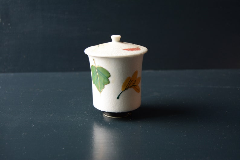 Japanese Tea Cup and Lid, Fall Leaves (50s)