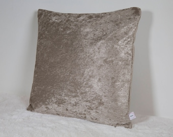 "Champagne Duck Feather Filled Crushed Velvet 16"" Cushion"